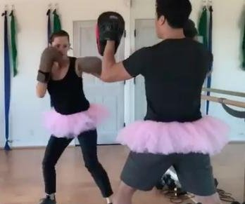Jennifer Garner kickboxes in tutu during stunt rehearsal