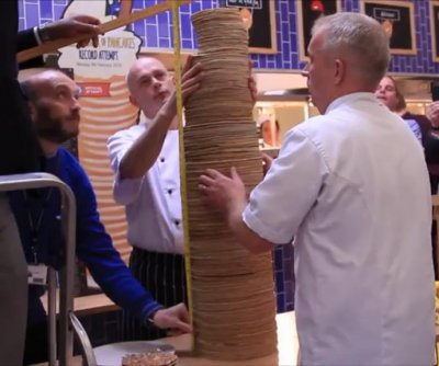 British resort breaks Guinness record for tallest stack of pancakes