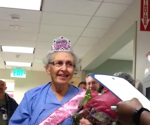 Oldest working U.S. nurse turns 90 with hospital surprise party