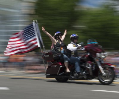 Rolling Thunder motorcyclists roll through Washington, D.C.