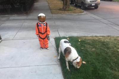 Young 'astronaut' walking his dog inspires Internet photoshop battle