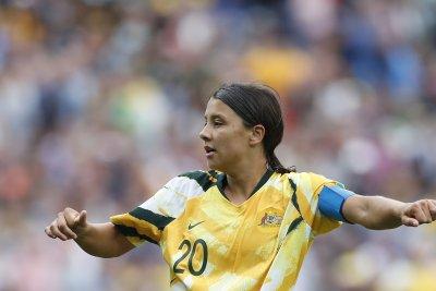 Women's World Cup: Australia's Sam Kerr scores two first half headers vs. Jamaica