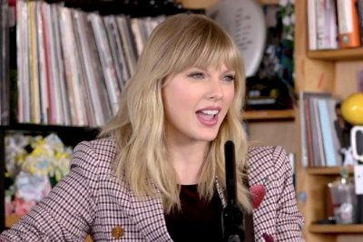 Taylor Swift performs solo acoustic set at Tiny Desk concert