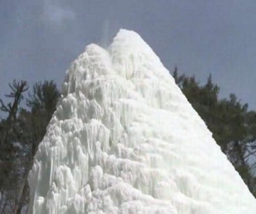 New York state pond becomes 50-foot 'ice volcano'