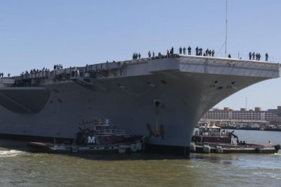 USS Eisenhower back at sea after upgrades in Norfolk