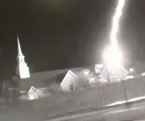 Security camera records dramatic lightning strike on church