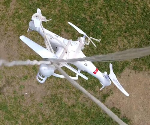 Man demonstrates low-tech drone warfare with mid-air capture