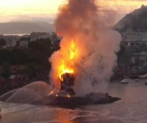 World's tallest bonfire set ablaze in Norway