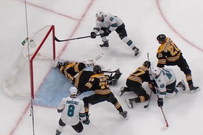 Boston Bruins goalie Jaroslav Halak extends glove for sensational save