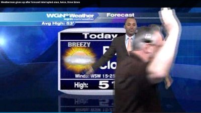 Chicago weatherman gives up after forecast is interrupted three times