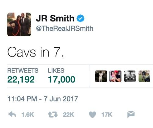 J.R. Smith denies he tweeted 'Cavs in 7,' Cleveland police dis Warriors