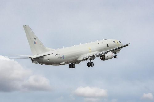 Britain's first P-8A Poseidon takes flight near Boeing plant