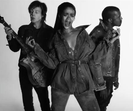 "Rihanna, Kanye West and Paul McCartney release video for ""FourFiveSeconds"""
