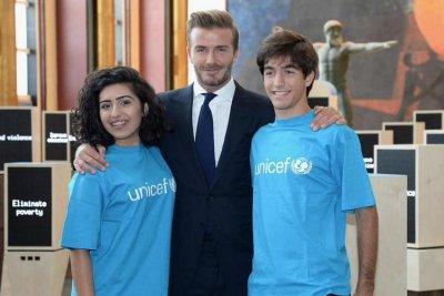 David Beckham gets emotional during U.N. speech to help children