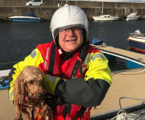 British coast guard rescues dog being swept out to sea