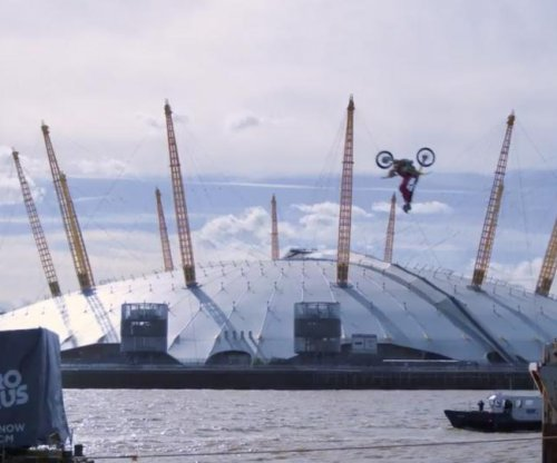 Travis Pastrana backflips on London's River Thames for Nitro Circus Tour