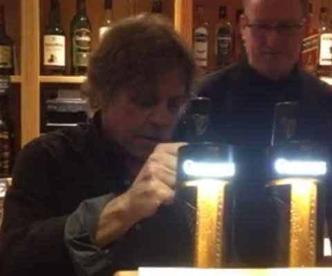 Luke Skywalker pulls pints of Guinness at Irish pub