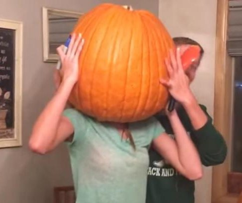 Washington state teen gets her head stuck inside a giant pumpkin