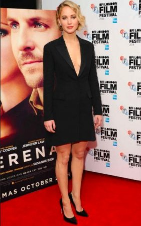 Jennifer Lawrence dons plunging tuxedo dress at 'Serena' premiere