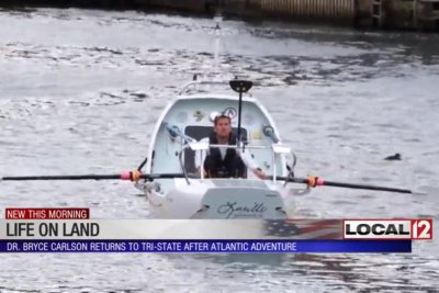Teacher breaks record by rowing Atlantic in under 40 days