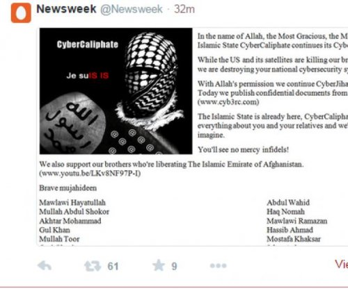 Newsweek, other media Twitter accounts hacked by IS-affiliated group