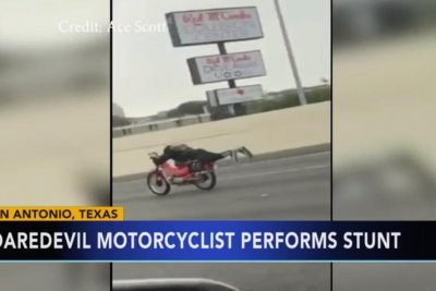 Police probe video of 'Superman' motorcyclist in Texas
