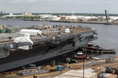 Carrier USS George H.W. Bush leaves drydock after 18 months of upgrades
