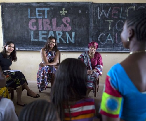 Michelle Obama meets with schoolgirls in Liberia