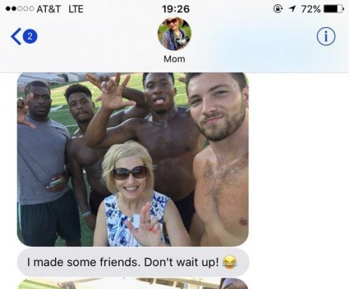 Mom befriends shirtless football players at daughter's college orientation