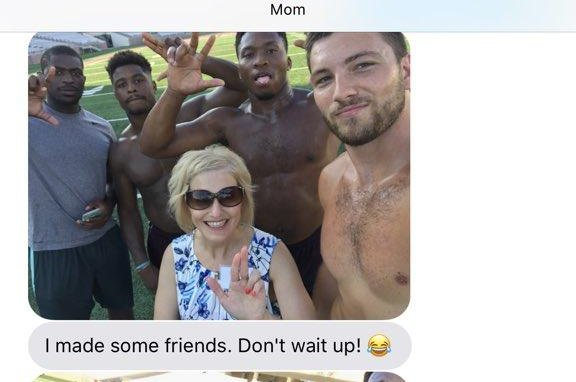 Look Mom Befriends Shirtless Football Players At Daughters College Orientation
