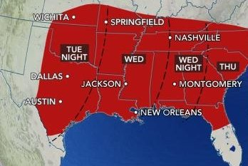 Severe weather threatens the South with hail, tornadoes