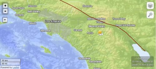 Earthquake strikes near San Jacinto in Southern California