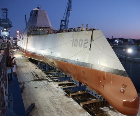 Zumwalt-class destroyer USS Lyndon B. Johnson launched in Maine