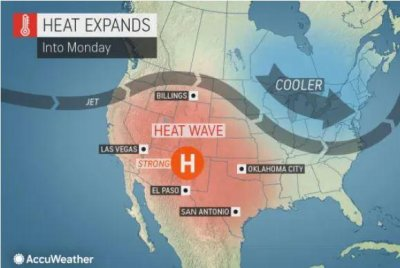 Sweltering heat to engulf West, southern Plains by midweek