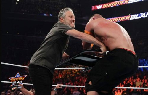 Jon Stewart body slammed by John Cena on 'Monday Night Raw'