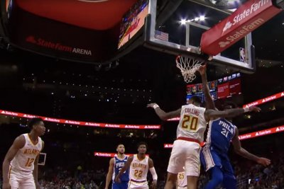 76ers star Joel Embiid throws down dunk on John Collins