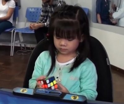Rubik's cube solved by 3-year-old in 47 seconds