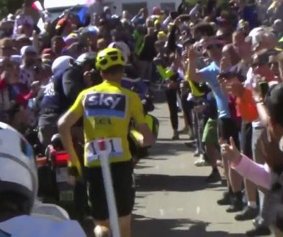 Tour de France chaos: Chris Froome runs to finish line after 'farcical crash'