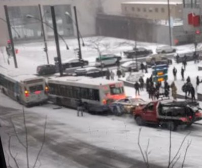 Montreal man films epic pile-up involving two buses, police car, snowplow