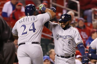 Jesus Aguilar's first MLB homer helps Milwaukee Brewers defeat St. Louis Cardinals