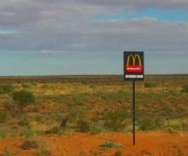 'McDonald's Opening Soon' sign removed from middle of Australian desert