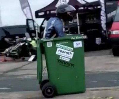 Watch: British inventor sets world record for fastest trash can