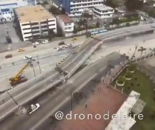 Drone video from Ecuador shows collapsed overpass after earthquake
