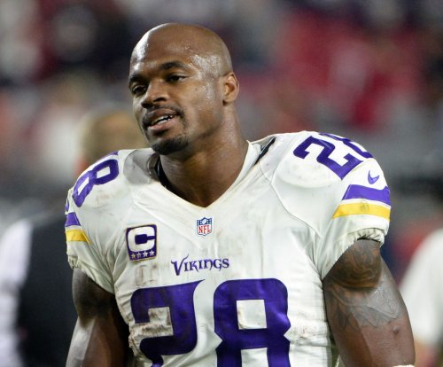 Minnesota Vikings' Adrian Peterson talking Super Bowl