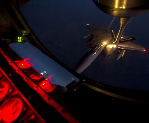 U.S.-led coalition airstrike destroys IS-held bank in Mosul, Iraq