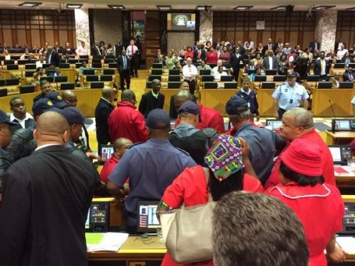 Filibuster devolves into fight in South Africa's Parliament
