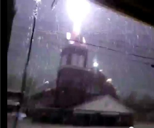 Maine church steeple lightning strike caught on camera