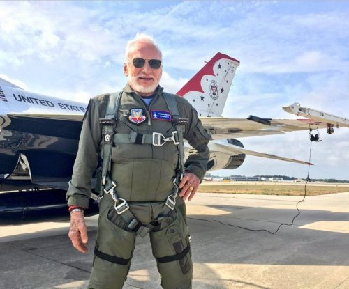 Buzz Aldrin, 87, becomes oldest person to fly with Thunderbirds
