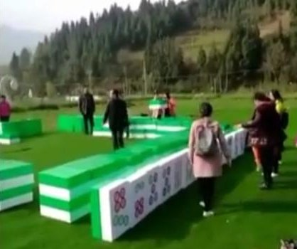 Giant Mahjong game set up for tourists in China