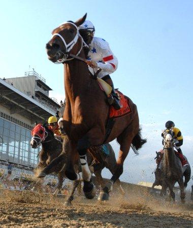 Big Brown gallops on recovering hoof